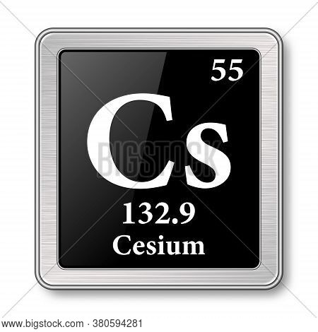 Cesium Symbol.chemical Element Of The Periodic Table On A Glossy Black Background In A Silver Frame.