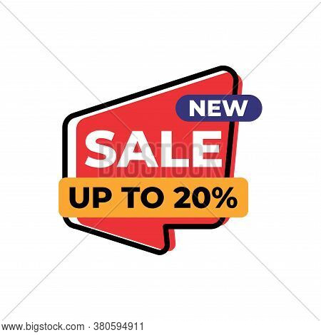 Up To 20% Sales Tag Vector Badge Template, 20% Sales Label Collection, Sale Sticker Emblems, Isolate