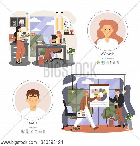 Office Situations, Business People Meeting, Presentation, Coffee Break, Vector Flat Illustration