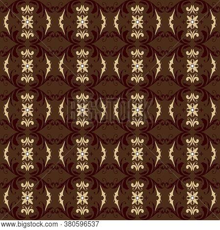 Unique Flower Pattern On Parang Batik With Modern Dark Brown Color Design.