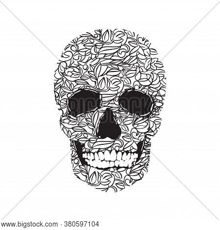 Decorative Skull Illustration. A Vegetable Plant Style Skull On A White Background. Print Skull