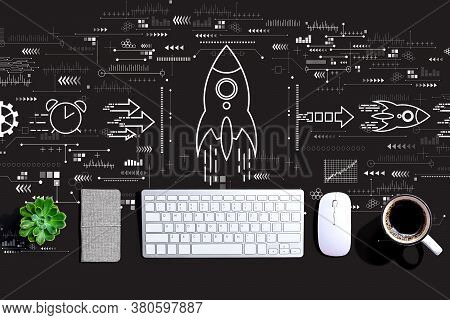Rapid Growth Concept With A Computer Keyboard And A Mouse