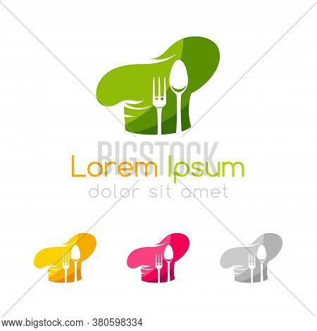 Chef Emblem Template. Icon Of Cook Hat With Fork And Spoon Silhouettes. Vector Symbol For Menu, Rest