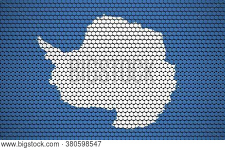 Abstract Flag Of Antarctica Made Of Circles. Antarctic Flag Designed With Colored Dots Giving It A M