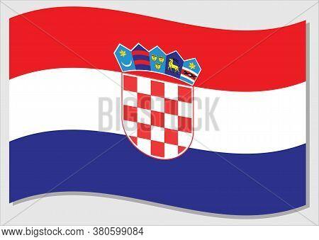 Waving Flag Of Croatia Vector Graphic. Waving Croatian Flag Illustration. Croatia Country Flag Wavin
