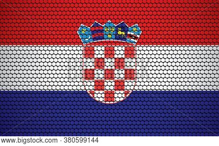 Abstract Flag Of Croatia Made Of Circles. Croatian Flag Designed With Colored Dots Giving It A Moder