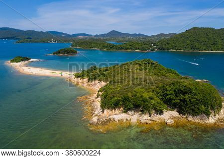 Top view of Hong Kong countryside in Sai Kung