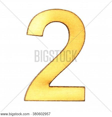 Numeral Two From Wood Or Plywood On A White Background Close-up, Isolate.