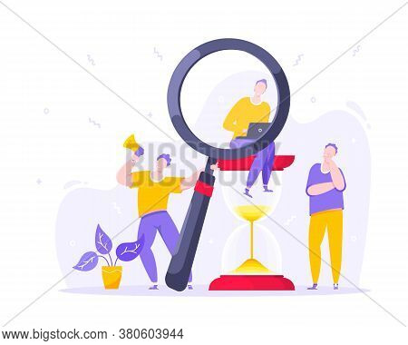 Time Managemet Business Concept Metaphor. Tiny Persons With Megaphone And Magnifying Glass. Work Pla