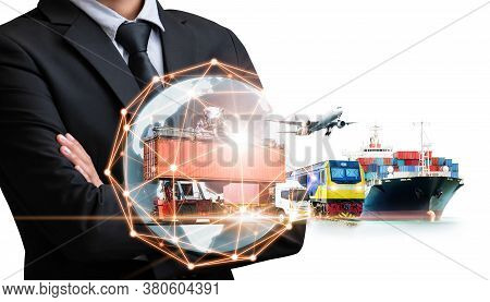 Businessman Holding Digital Globe In Palm On White Background For Logistics Import Export And Contai