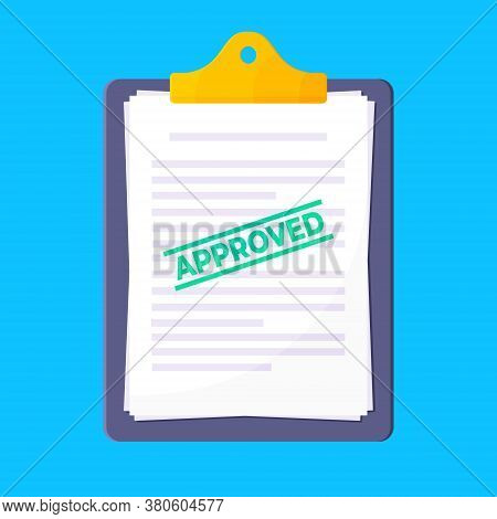 Clipboard With Approved Claim Or Credit Loan Form On It, Paper Sheets And Approved Stamp Flat Style