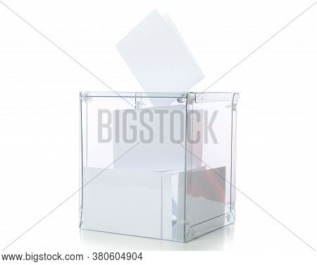 Voting Box With Bulletins Isolated On White Background