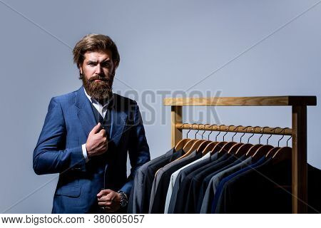 Tailor, Tailoring. Stylish Mens Suit. Man Suit, Tailor In His Workshop. Handsome Bearded Fashion Man