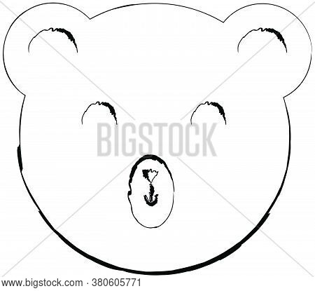 Flat Doodle Drawing Image Of Bear, Vector Illustration