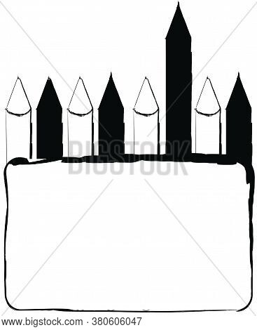 Flat Doodle Drawing Image Of Color Pencil, Vector Illustration