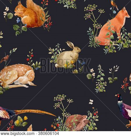 Beautiful Seamless Floral Pattern With Watercolor Forest Plants And Animals. Stock Illustration.