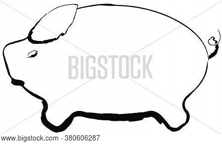 Flat Doodle Drawing Image Of Pig, Vector Illustration