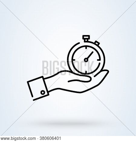 Stopwatch In Hand Linear Style. Sport Timer On Competitions Line Icon. Vector Illustration Trainer H