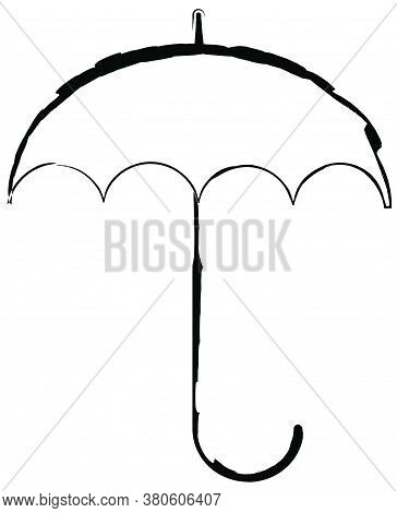 Flat Doodle Drawing Image Of Umbrella, Vector Illustration