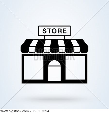 Store Striped Awning And Shop, Store Building Vector Illustration. Icon Store Symbol Trendy.