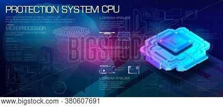 Cpu Concept. Powerful Microprocessor Of The Future.protection System. Biometric Id. New Generation P