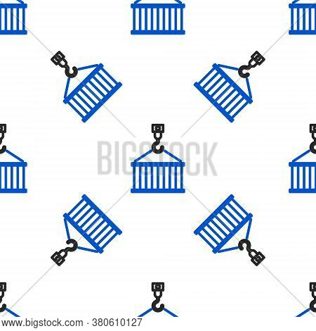 Line Container On Crane Icon Isolated Seamless Pattern On White Background. Crane Lifts A Container