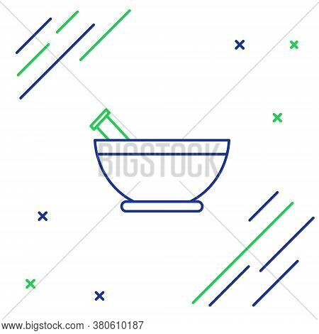 Line Mortar And Pestle Icon Isolated On White Background. Colorful Outline Concept. Vector