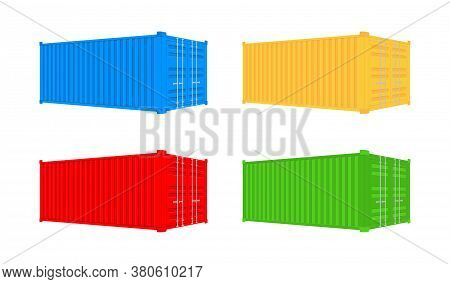 Shipping Cargo Container Twenty And Forty Feet. For Logistics And Transportation. Vector Stock Illus