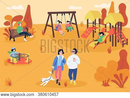 Autumn Playpark With Visitors Flat Color Vector Illustration. People Spending Leisure Time Outdoors.
