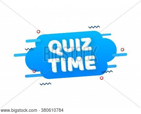 Quiz Time Logo With Clock, Concept Of Questionnaire Show Sing, Quiz Button, Question Competition. Ve