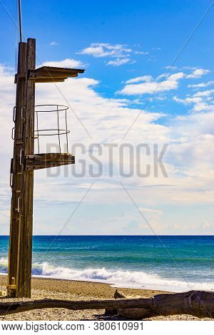 Sandy Seashore With Lifeguard Tower. Motril Beach. Costa Tropical, Granada. Andalucia Spain.