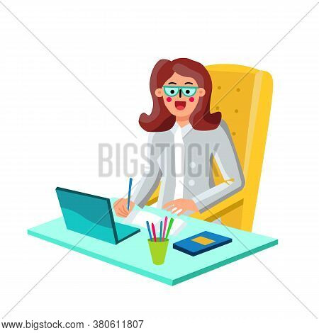 Economist Businesswoman Working On Laptop Vector Illustration
