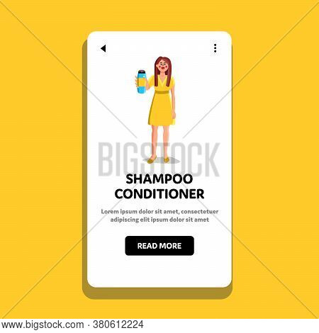 Shampoo Conditioner Bottle Showing Woman Vector Illustration