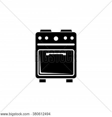 Gas Kitchen Stove, Home Electric Cooker. Flat Vector Icon Illustration. Simple Black Symbol On White