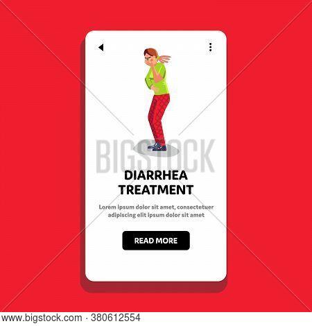 Diarrhea Treatment And Stomachache Girl Vector Illustration