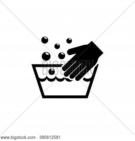 Hand Wash Laundering, Handwash In Basin. Flat Vector Icon Illustration. Simple Black Symbol On White