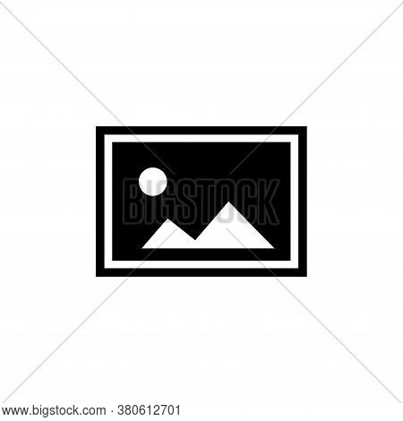 Landscape Photo Card, Picture Frame. Flat Vector Icon Illustration. Simple Black Symbol On White Bac