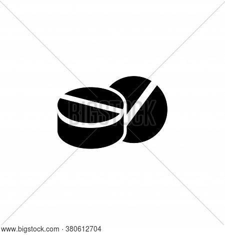 Two Medicines Pills, Treatment Tablet. Flat Vector Icon Illustration. Simple Black Symbol On White B