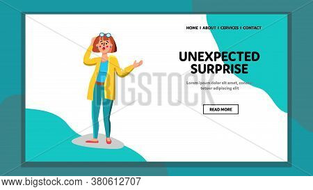 Unexpected Surprise Happiness Young Woman Vector Illustration