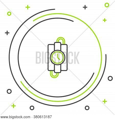 Line Detonate Dynamite Bomb Stick And Timer Clock Icon Isolated On White Background. Time Bomb - Exp