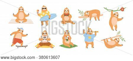 Collection Of Funny Lazy Playing Sloth With Coffee And In Clothes. Animal Character Sleeping, Nappin