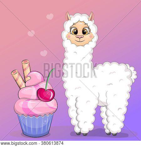 Cute Cartoon Llama With Sweet Cupcake. Vector Illustartion Of Animal And Sweet Dessert On The Colorf