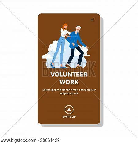 Volunteer Work Service For Help Old People Vector