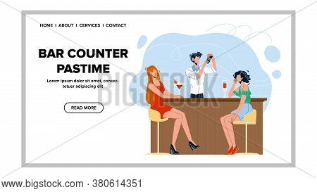 Bar Counter Pastime Cocktails And Friend Vector