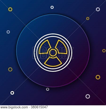 Line Radioactive Icon Isolated On Blue Background. Radioactive Toxic Symbol. Radiation Hazard Sign.