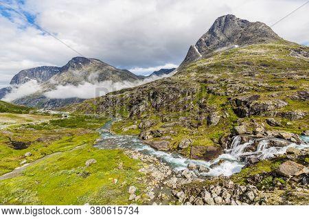 Norwegian Landscape With Trollstigen Center In The Background, National Scenic Route Geiranger Troll