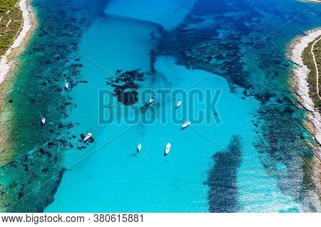 Amazing Adriatic Coast In Croatia. Aerial View Of Azure Turquoise Lagoon On Sakarun Beach On Dugi Ot
