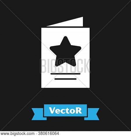 White Greeting Card Icon Isolated On Black Background. Celebration Poster Template For Invitation Or