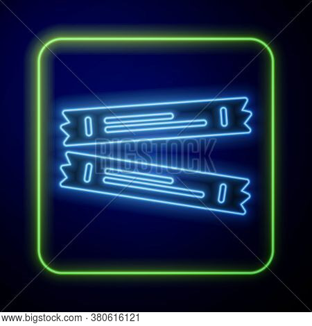 Glowing Neon Sugar Stick Packets Icon Isolated On Blue Background. Blank Individual Package For Bulk