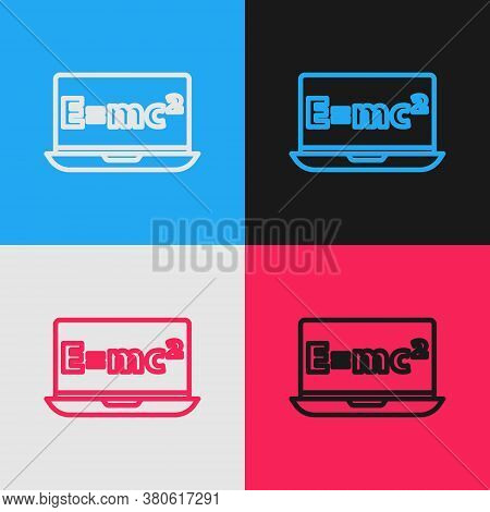 Pop Art Line Math System Of Equation Solution On Laptop Icon Isolated On Color Background. E Equals